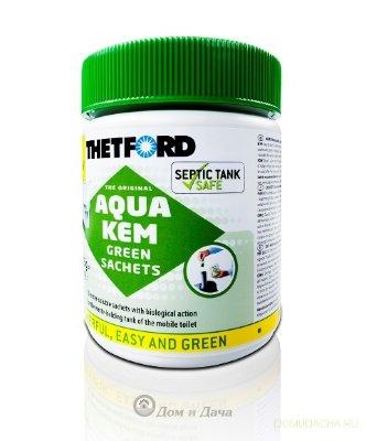 Порошок для биотуалета Aqua Kem Green Sachets в пакетиках.