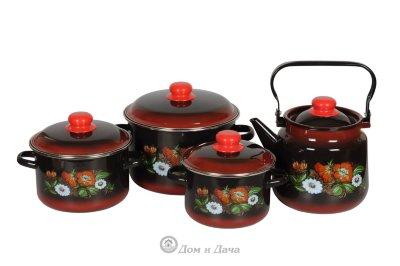 Набор ШИПОВНИК 1KB201M из 3 кастрюль (2л ,3л , 5,5л) и чайника (3,5л)