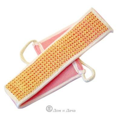 """Мочалка из сизаля, лента с сегментами хлопка с веревочной ручкой цвет. """"Банные штучки"""" 40098"""