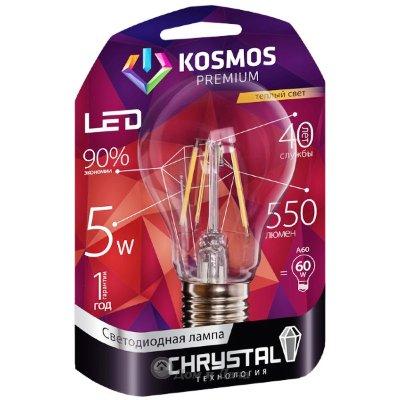 """Лампа светодиодная. KOSMOS premium LED 5Вт А60 """"Золотая Нить"""" E27 230В 3000K"""