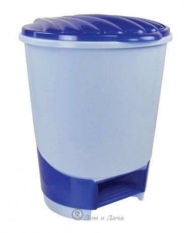 Ведро для мусора с педалью 10л (голубое)