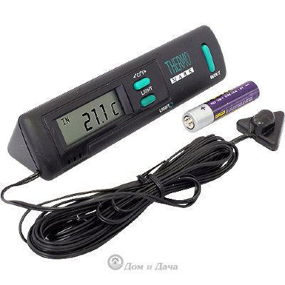 Термометр электронный внутр./наружн., LCD c подсветкой, шнур 3м (черн.)