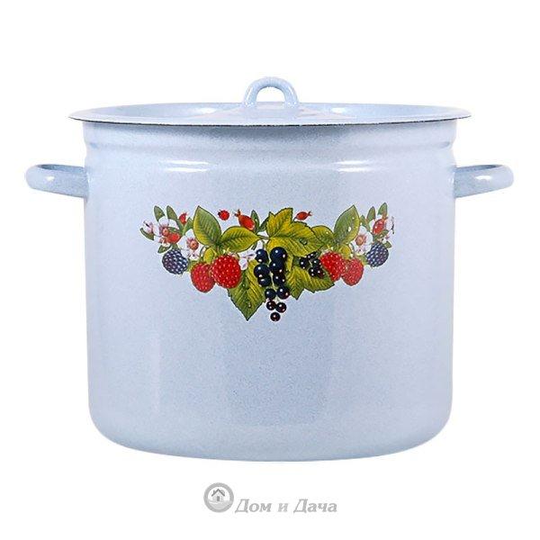 """Кастрюля эмаль 12 л цилиндр """"Свежие ягоды"""""""