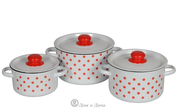 Набор эмалированной посуды КРАСНЫЙ ГОРОХ 1с144 (кастрюля 1.5, 2.9, 4,5 л) 1с144