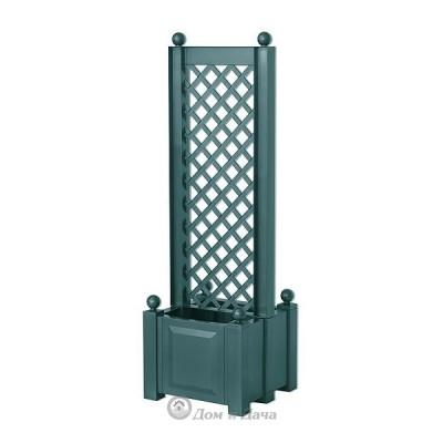 Ящик для цветов KHW 44л с шпалерой по центру 140см, зеленый