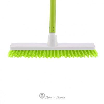 """Щетка пластмассовая """"Shrober"""" для чистки ковров 270 мм, салатовая щетина, c черенком, 120 см, D 22 мм Elfe"""