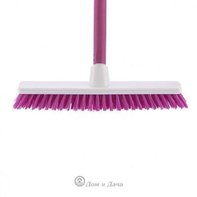 """Щетка пластмассовая """"Shrober"""" для чистки ковров 270 мм, розовая щетина, c черенком, 120 см, D 22 мм Elfe"""
