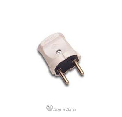 Вилка электриеская без заземления белая MAKEL 10001