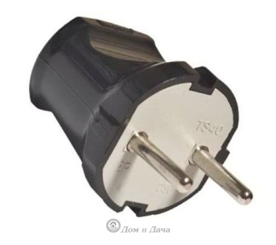 Вилка электрическая без заземления черная 6А 250В (еврослот) UNIVersal A0113