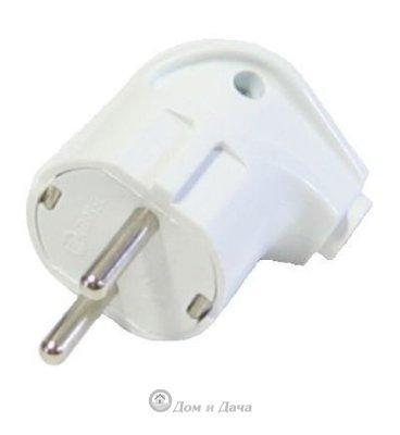 Вилка электрическая с заземлением угловая белая 16А 250В (еврослот) UNIVersal А105