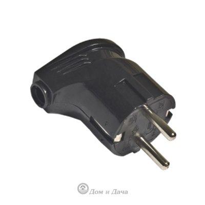Вилка электрическая с заземлением угловая черная 16А 250В (еврослот) UNIVersal А0105