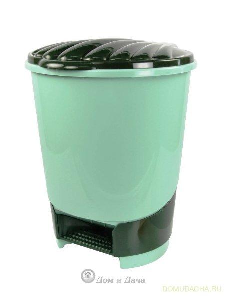 Ведро для мусора с педалью 10л (зеленое)
